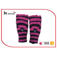 China Rose Red And Black Stripe Womens Warm Winter Gloves With Long Ribbed Edge on sale