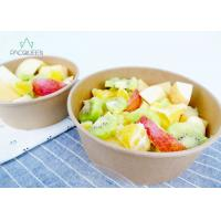 Best Salad Kraft Paper Takeaway Food Containers PLA Lined Clear Lids wholesale