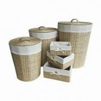China Water Hyacinth Laundry Hampers with Metal Frame, Set of 6 and Natural Color on sale