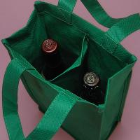 China Eco-friendly Reusable Wine Bottle Carry Bags Foldable Wine Carrier Bag on sale