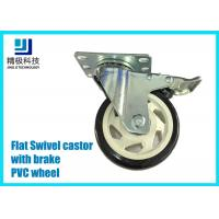 3-5 inch PVC / ESD Flat Free Swivel Caster Wheels Plate - mount With Brake