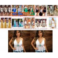 Best European style deep V-neck halter top ladies short paragraph bottoming openwork crochet to wholesale