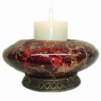 Best Glass Candle Holder, Made of Glass/Polystone, Comes in Red, with Marble Finish wholesale