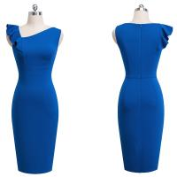 Cheap New Arrival Blue Tight Bodycon Dress Sleeveless Pathwork Slim Oblique Collar for sale