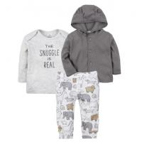 Best Boy 3 Pcs Baby Clothes Set Print Animal Baby Clothes Pants And Hooded Top wholesale