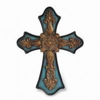 Best Polystone Wall Cross for Home Decor, with Blue Finish Background, Customized Colors are Accepted wholesale