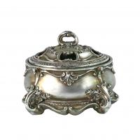 Best Aged Antique Silver Jewelry Box / Scroll Work Leaf Resin Jewelry Box wholesale
