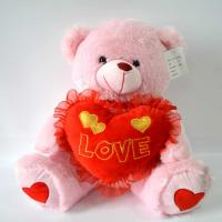 Best Cute Plush Toys for baby, Valentine's Day Present, Pink Bear Plush with Heart. wholesale