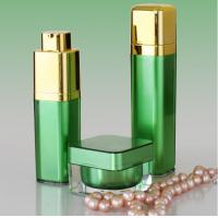 Best Golden Pump Acrylic Lotion Bottles Jars, Green Square Acrylic Cosmetic Package Bottle Jars wholesale