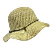 China Woven Straw Ladies' Casual Hats For Beach, Natural Crochet Raffia Hat With Chain for Women on sale