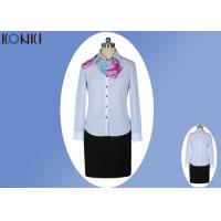 Best Modern Corporate Office Uniforms Ladies / Blue And White Stripe Shirt wholesale