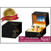 Best Black flower printed Gift Jewellery Boxes, square packaging earrings box with video for earrings wholesale