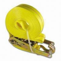 Best Marine Boat Tie Down Strap with Yellow Plated Double J Hooks and 2 Inches Wide Webbing wholesale