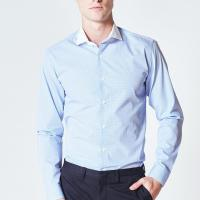Best Striped Mens Long Sleeve Button Down Dress Shirts Wrinkle Resistant For Office Work wholesale
