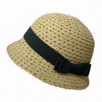 Best Straw Cloche Hat for Women, with Band, Made of Paper, Customized Sizes and Materials are Accepted wholesale