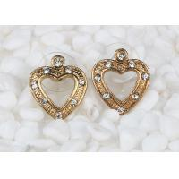 Best Antique Rose Gold Large Stud Heart Shaped Earrings Costume Jewelry With Diamond wholesale
