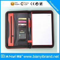 Best PU Leather portfolio with handle and zipper,CD pocket wholesale