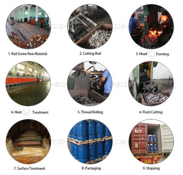 10.9 Grade 40Cr Steel Oxide Black Screw Spike Insert Plastic Dowel Railway Fasteners