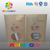 China Food Grade Brown Kraft Customized Paper Bags With Front Window And Zipper on sale