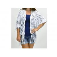 Buy cheap Gorgeous White Navy Ladies Tops And Blouses , Comfortable Aztec Fringe Kimono from wholesalers
