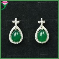 Best wholesale price 925 silver green agate big gemstone new fashion earrings wholesale