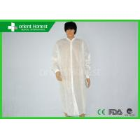China SMS Non Woven White Disposable Lab Coat For Adults And Chidren wholesale