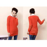 Best Ball Knitting Ladies Cable Knit Sweater Scoop Neck , Long Sleeve Orange Sweaters for Women wholesale