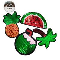China Summer Fuirt Flip Sequin Patch Washable Sew / Iron Backing For Kids Clothing on sale