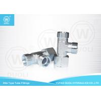 China Bite Type Hydraulic Tube Compression Fittings Run Tee Adapters With Swivel Nut on sale
