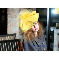 Best Fashion Yellow Church Hats with veil and lace Polyester Women Floppy Hats wholesale