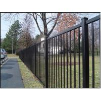 1.8m H Powder Coated With Black Color Of Steel Tubular Fence For 2 Rails