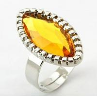 Best Custom Unisex Silver Cock Western Jewelry Rings with Yellow Crystal for Gift wholesale
