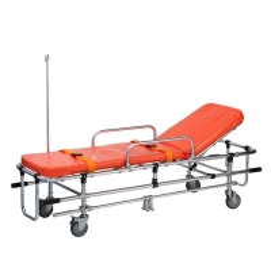China Adjustable Backrest Ambulance Patient Transport Trolley With IV Pole on sale