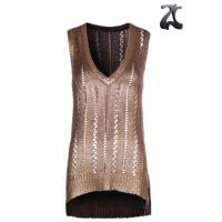 China Tape Yarn Womens Knit Sweater Vest  Pure Acrylic , Sleeveless Golden Print Vest V Neck on sale