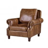 Best Vintage Brown High Back Leather Armchair , Tall Back Living Room ChairsStrong Linen wholesale