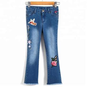 Best Embroidery Kids Jeans Pant Light Blue , Children Girls Denim Pants Breathable wholesale
