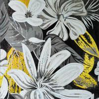 China White Magnificent Floral Glass Mosaic Wall Art , Craft Mosaic Tile Floor Patterns on sale