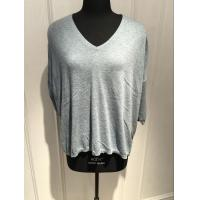 China 3/4 Sleeve Oversize Cashmere V Neck Womens Grey Cashmere Sweater With Bead Decoration on sale