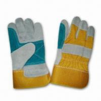 Best Leather Double Palm Gloves with Yellow Twill Cotton Back and Rubberized Cuff wholesale