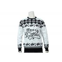 Best Grey And Black Merry Christmas Logo Jacquard Soft Ugly Christmas Sweater For Mens wholesale