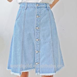 Best Women A-LINE High Waist Long Denim Skirt With Bottom Buttons Closed wholesale