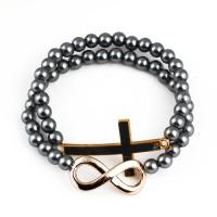China Fashion Alloy Cross And Figure 8 Bicyclic Beads Bracelets on sale