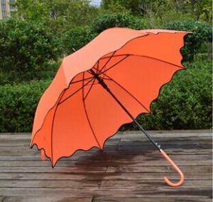 China Rain Gear High Quality Customized Automatic Orange Unique Design Ladies Umbrellas on sale
