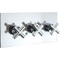 China Three Handles 2 Way Thermostatic Shower Valve Perfect Thermostatic Control on sale