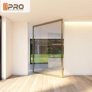 China Aluminum Insulating Glass Pivot Entrance Doors For Apartment Main Gate Glass pivot door pivot glass door hinge modern on sale