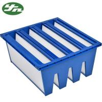 China HVAC AHU System Sub - Hepa Air Filter W Type With Blue Plastic Frame on sale