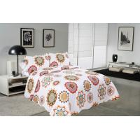 China Sun Flower Pattern Printed Quilt Set Needle Punched Cotton Bedspread And Coverlet on sale