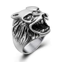 China Fashion 925 Silver Plated Stainless Steel Engraved Wolf Vintage Old Ring (SA385) on sale