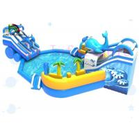 China Fire Retardant Commercial Blue Shark Mobile Blow Up Water Park With Slide on sale