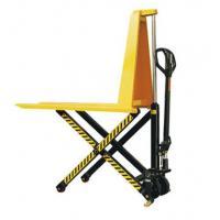 Best Yellow Color Steel Scissor Lift Hand Pallet Truck , Manual Hydraulic Stacker Straddle Lift Truck wholesale